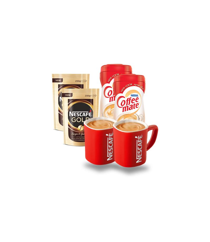 Nescafe 2 Adet+2 Adet Nestle Coffee Mate+2 Adet Nescafe Kupa Bardak Hediyeli