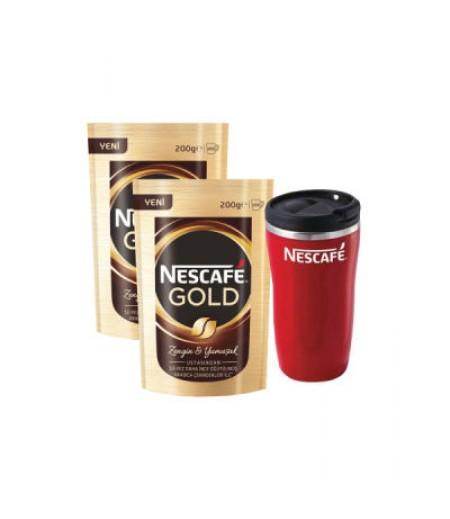 2 Adet Nescafe Gold 200gr Thermomug Hediyeli