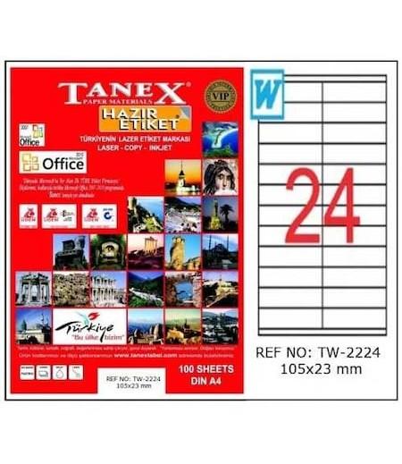 Tanex Etiket Laser 105X23 TW-2224