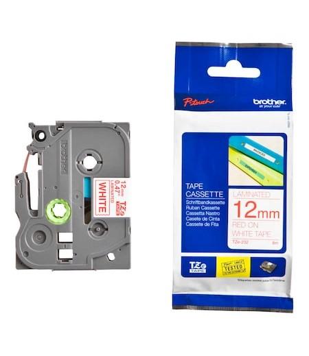 Brother P-Touch TZ-tape 12mm Beyaz-Kırmızı Etiket 12TZE232