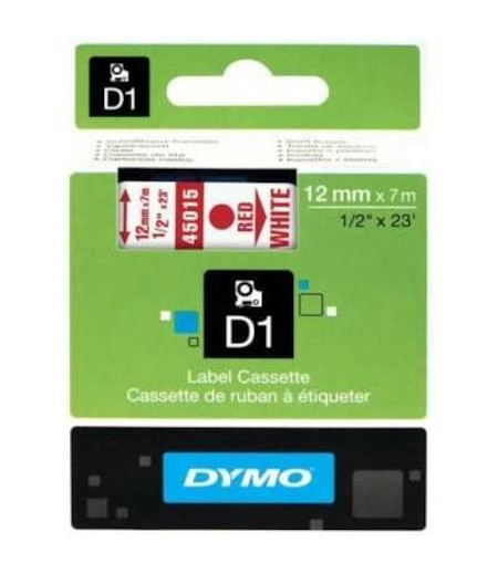 Dymo D1 12mmx7m Beyaz/Kırmızı 45015