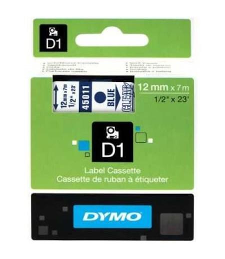 Dymo D1 12mmx7m  Şeffaf/Mavi 45011