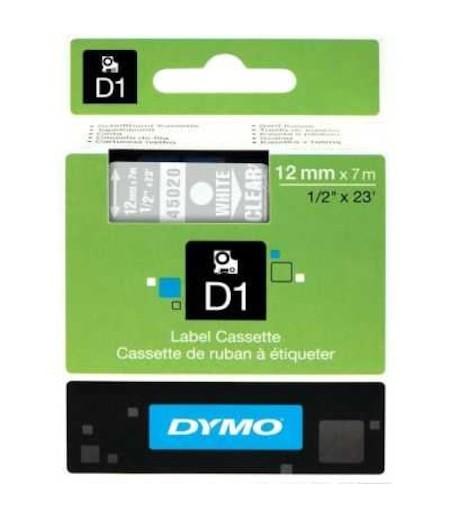 Dymo D1 Yedek Şerit 12mmx7m Şeffaf/Beyaz 45020