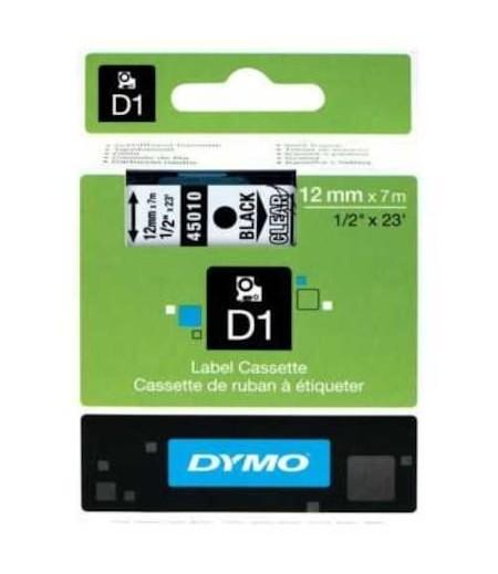 Dymo D1 Yedek Şerit 12mmx7m Şeffaf/Siyah 45010