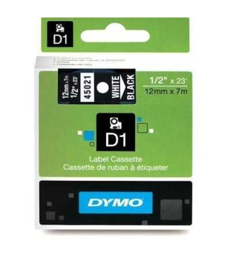 Dymo D1 Yedek Şerit 12mmx7m Siyah/Beyaz 45021