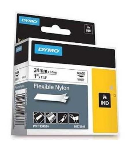 Dymo RhinoPro Esnek Naylon Şerit 24mmx3.5m Beyaz/Siyah 1734524