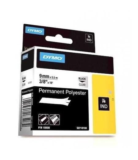 Dymo RhinoPro SabitPolyester Şerit 9mmx5.5m Şeffaf/Siyah 18508